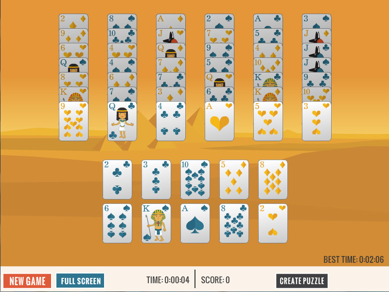 Free Columns Pyramid Solitaire card game.